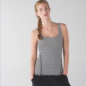 Lululemon Amala Tank Striped Black Angel Wing